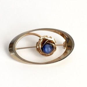 Vintage Blue Star Sapphire Brooch Gold Tone Faux